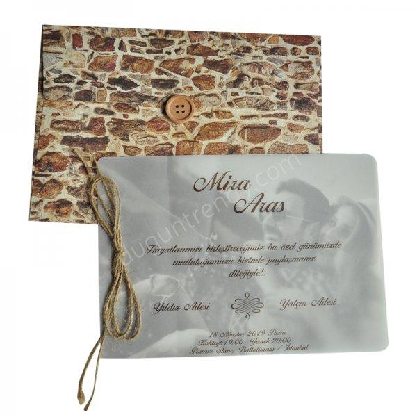 duvar taşı görünümlü davetiye modeli