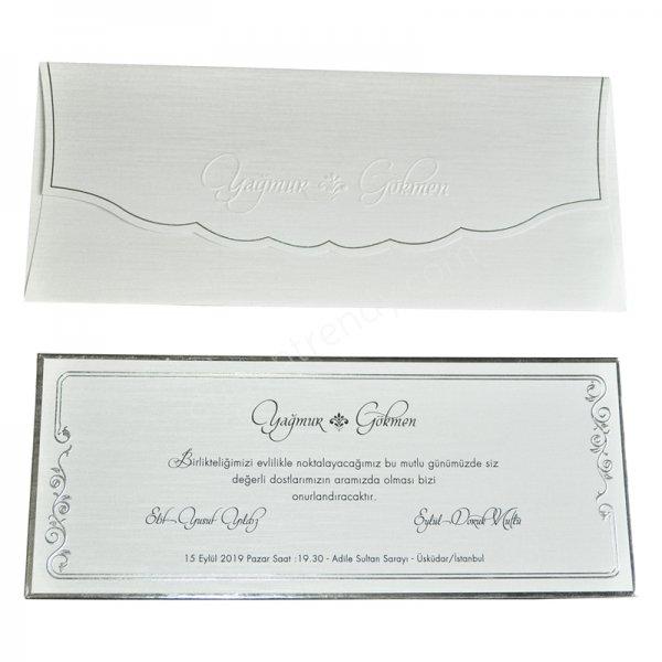 gümüş detaylı sade davetiye modeli