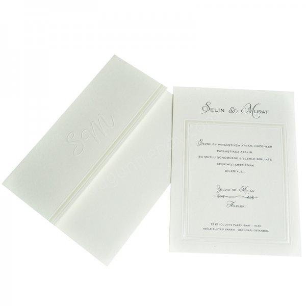 sade beyaz davetiye modeli
