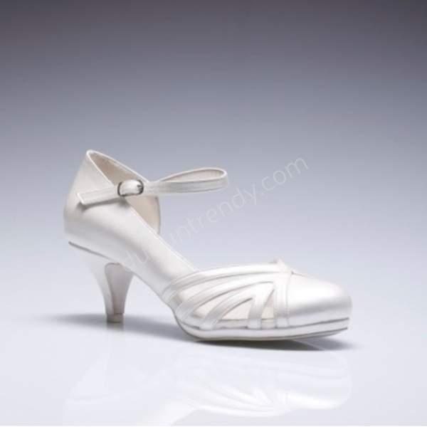 yarısı açık kısa topuklu gelin ayakkabısı modeli