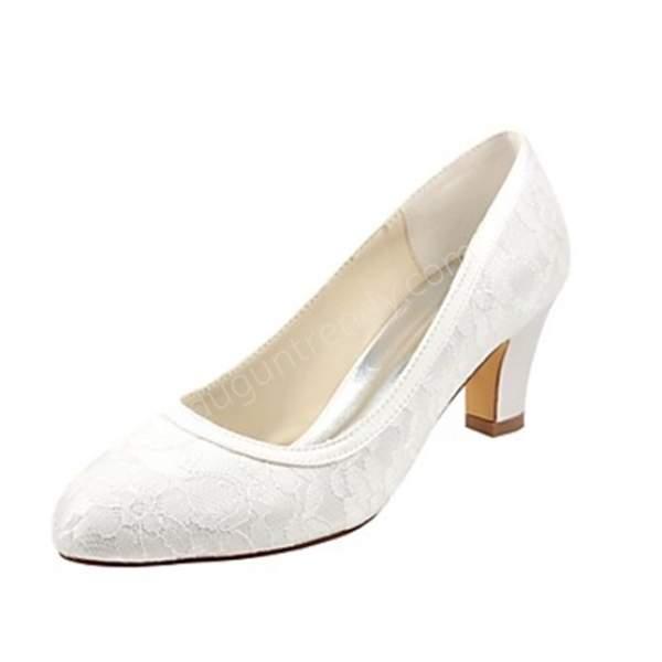 dantelli sade gelin ayakkabısı