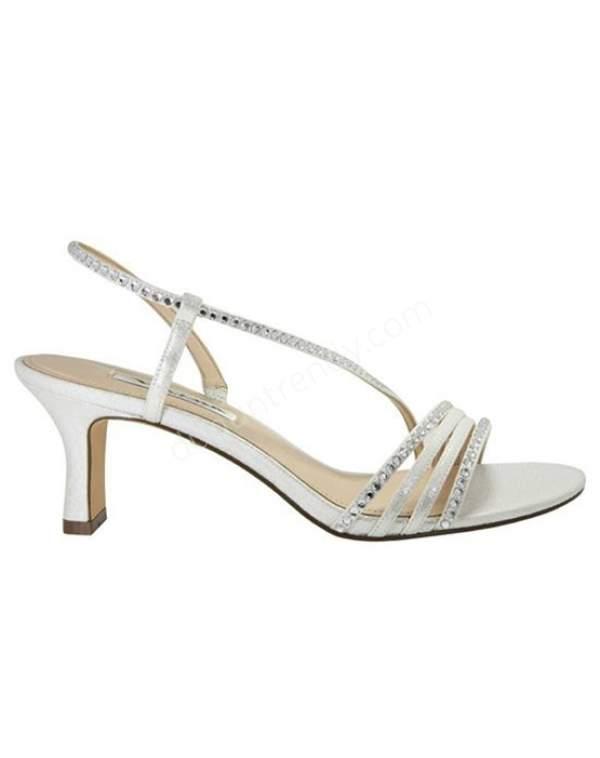 şeritli kısa topuklu gelin ayakkabısı modeli