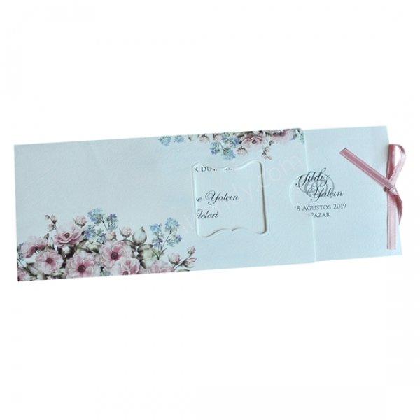 bahar temalı çiçek desenli davetiye modeli
