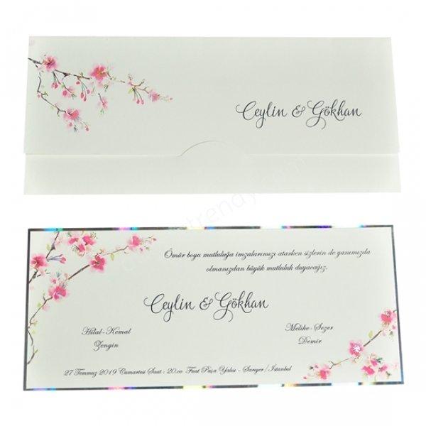 çiçek detaylı sade tasarımlı davetiye modeli