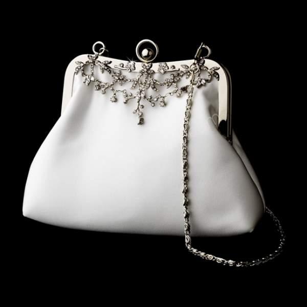 vintage tarzı beyaz gelin çantası