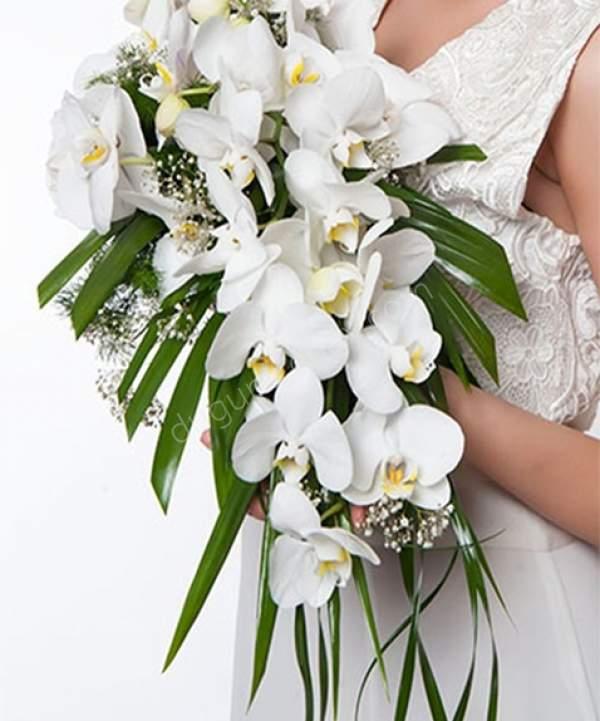 Beyaz Orkide Gelin Buketi
