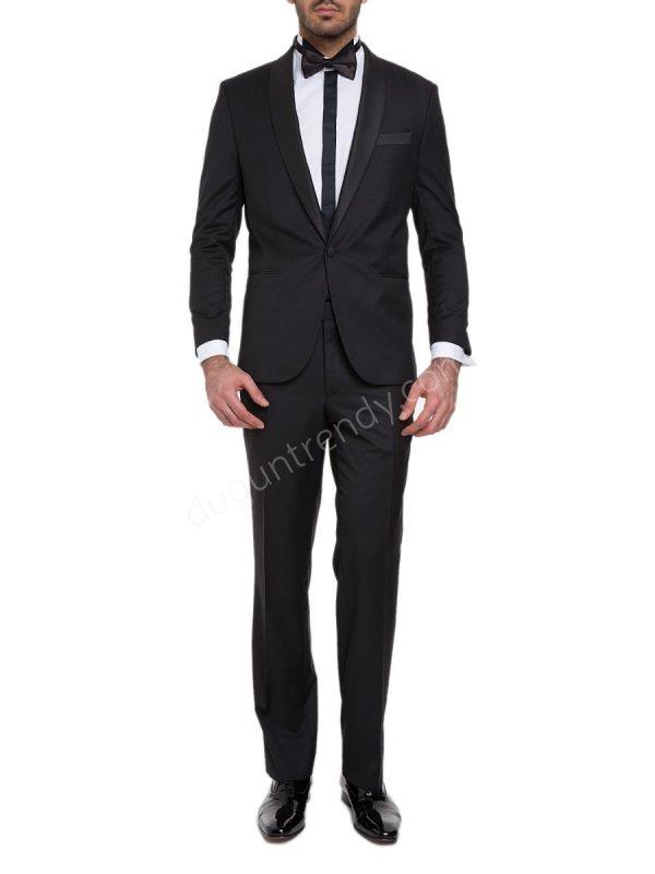 siyah şeritli gömlek detaylı smokin modeli