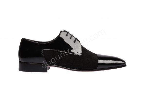 süet ve rugan detaylı erkek ayakkabısı modeli