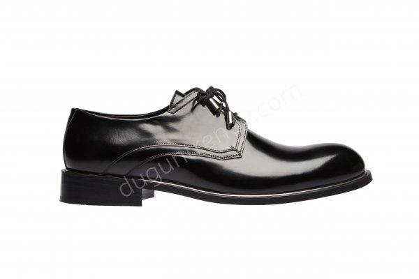 yuvarlak burun metal detaylı damat ayakkabısı modeli