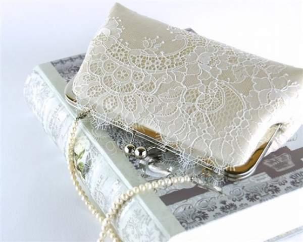 Özel desenli ve dantelli gelin çantası modelleri