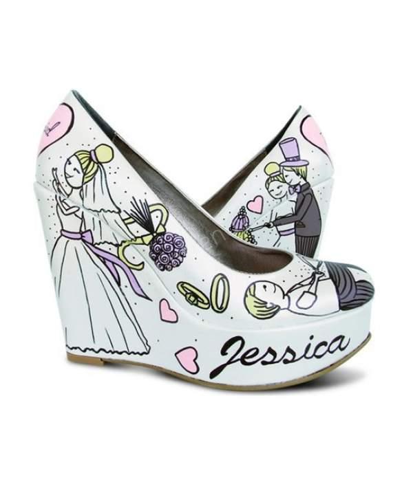 Desenli dolgu topuklu gelin ayakkabısı modelleri neler