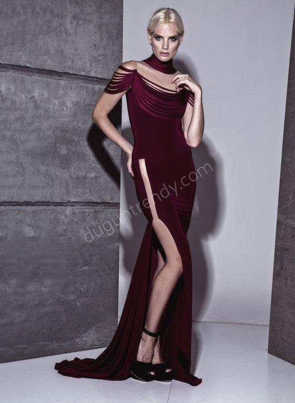 derin etek dekolteli elbise modeli