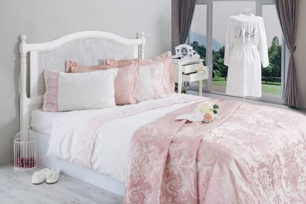 jakarlı ve dantelli yatak örtüsü ve nevresim takımı modelleri