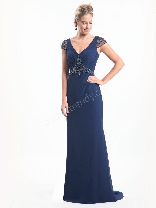 taş işlemeli V yaka elbise modeli