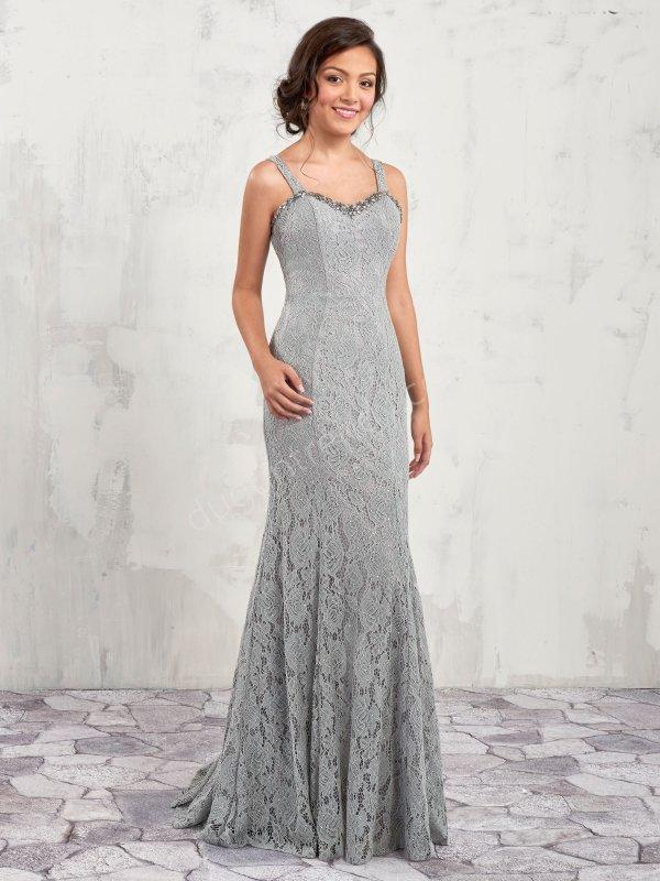 ince askılı taş işlemeli dantel  elbise modeli