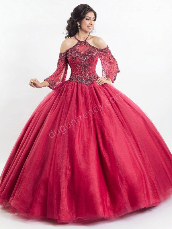 kolları işlemeli tül detaylı kabarık elbise modeli