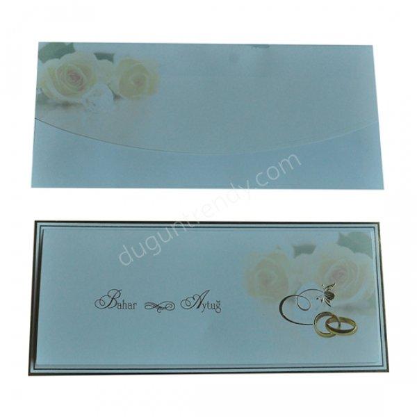 zarf ve kartta aynı desenin kullanıldığı davetiye modeli