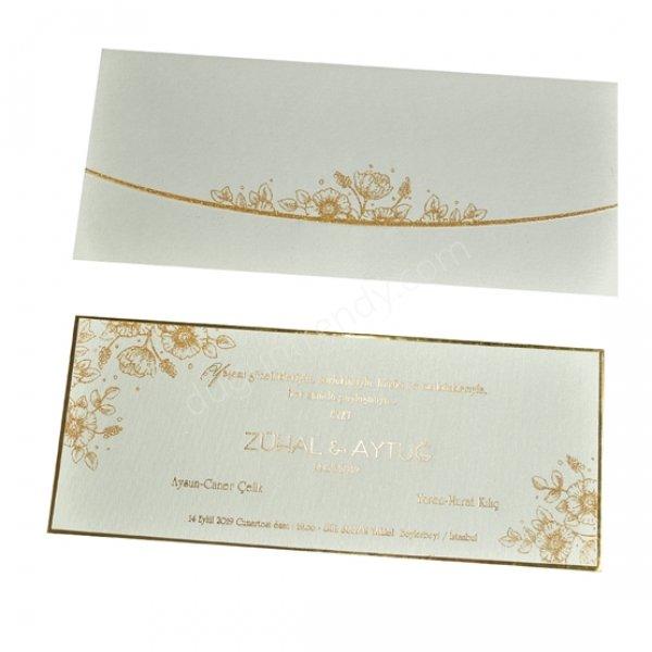 altın rengi desenli davetiye modeli