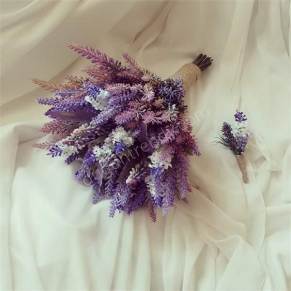 Mor Kır Çiçeği Gelin Buketi