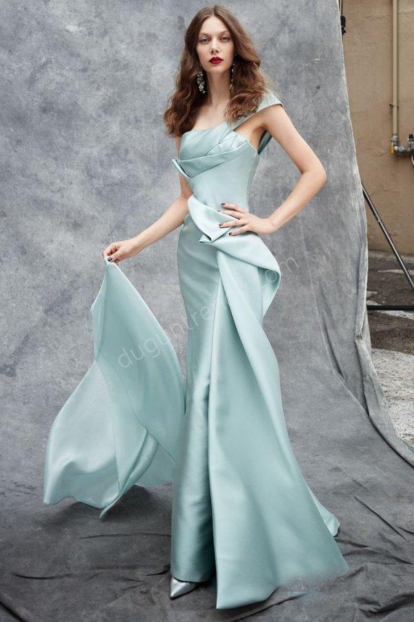 balık kesim saten kumaş elbise modeli