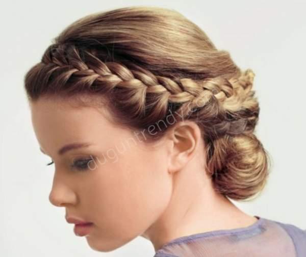 Ense topuzu örgülü nişan saçı modelleri