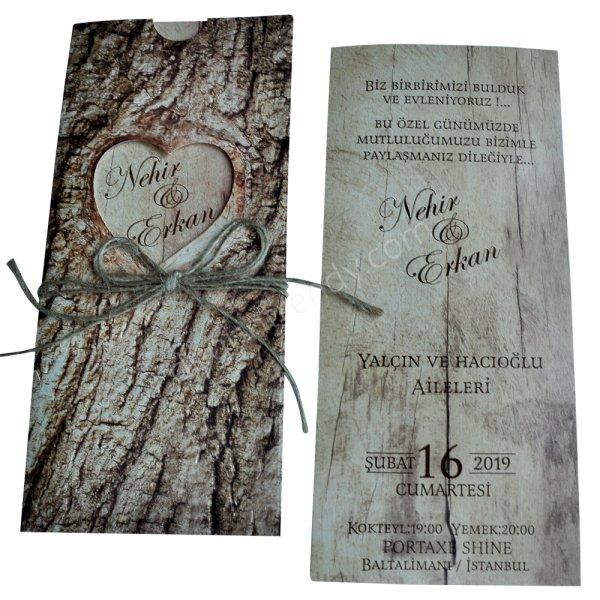 ağaç görünümlü modern davetiye