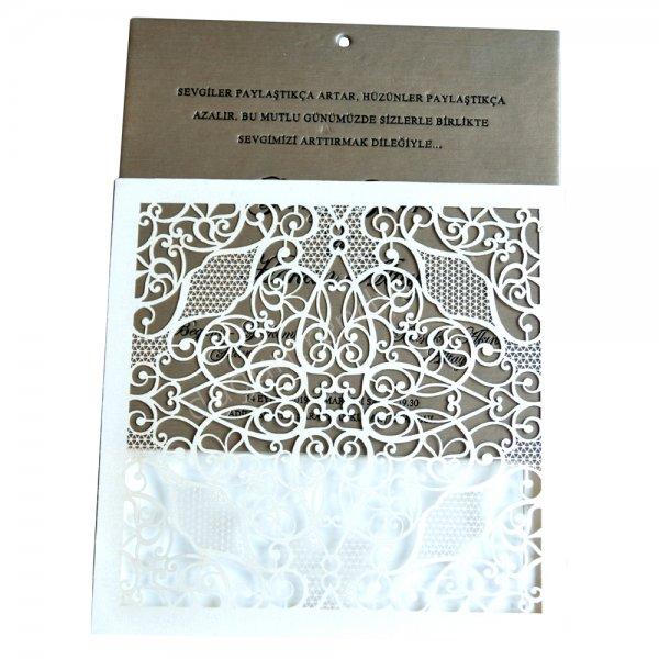 metalik bronz desenli davetiye