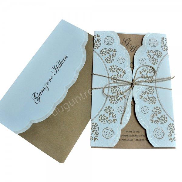 kraft kağıdından özel kesim davetiye modeli