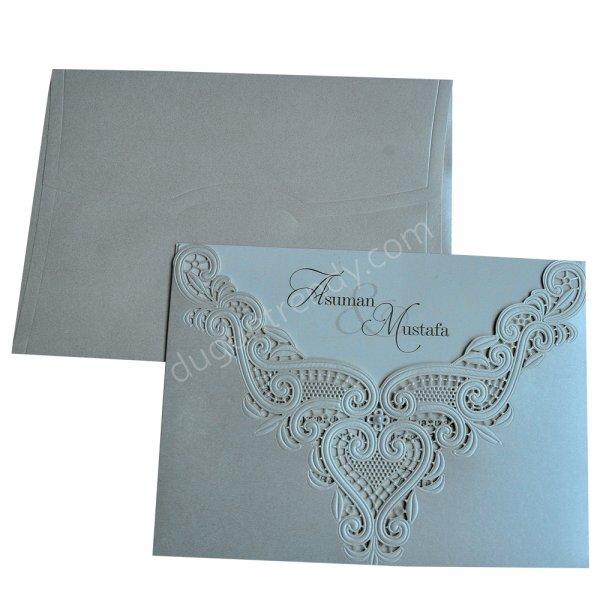 dantel desenli özel kesim davetiye modeli