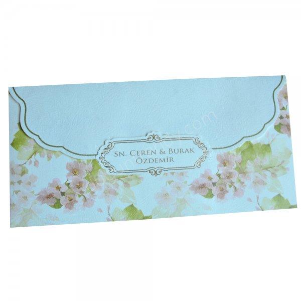 çiçek desenli davetiye