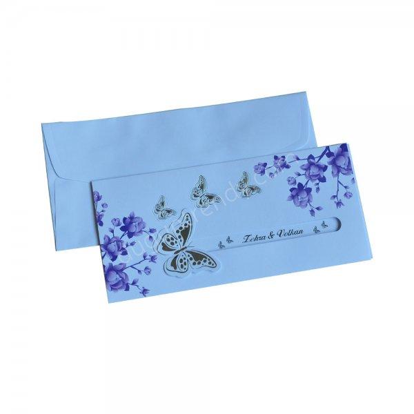 kelebek desenli davetiye modeli
