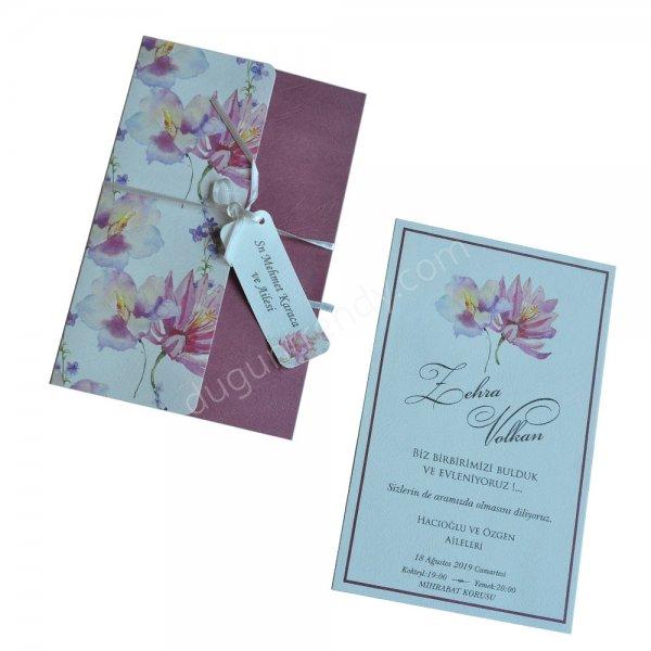 çiçek desenli etiketli davetiye modeli