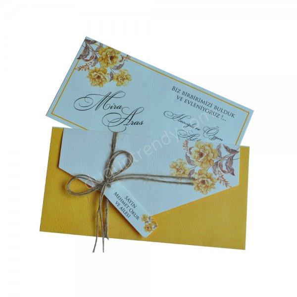 hardal sarısı çiçek detaylı davetiye modeli