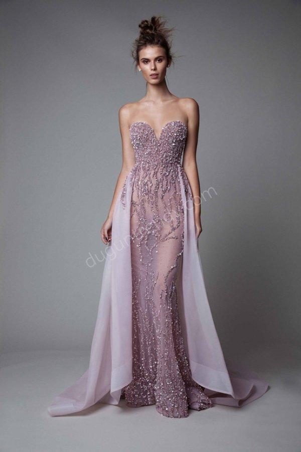 transparan tül işlemeli elbise modeli