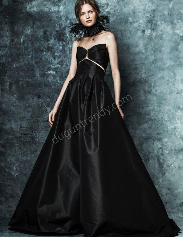 parlak saten kumaş A kesim elbise modeli