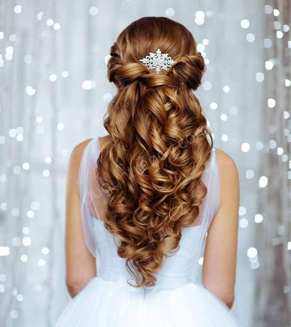 Yarı Açık Gelin Saç Modelleri