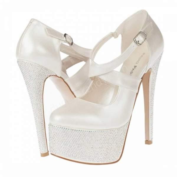 Taşlı beyaz yüksek topuklu gelin ayakkabısı