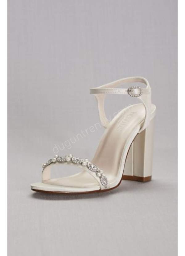 açık taşlı gelin ayakkabısı modeli