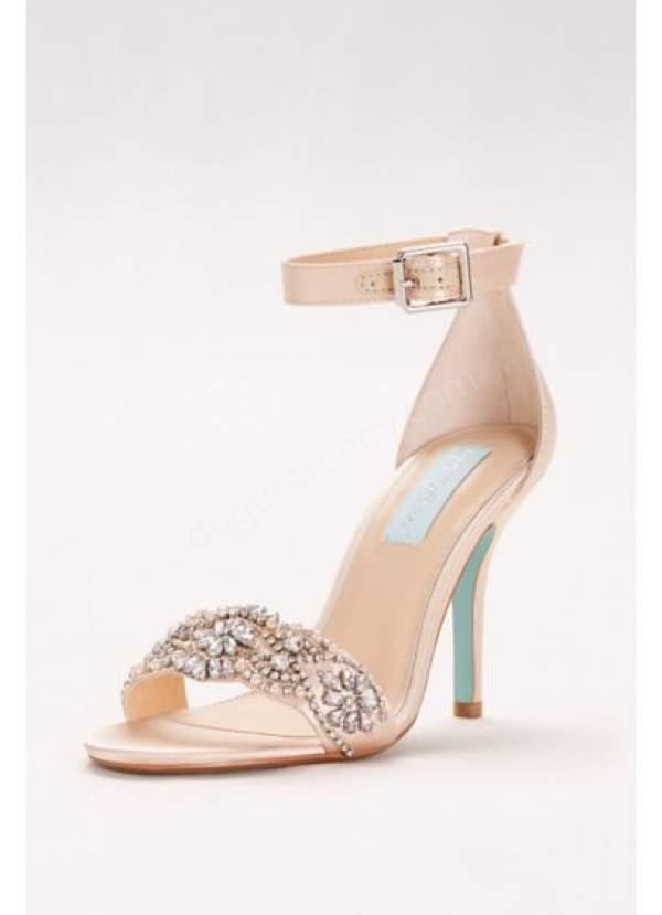 klasik taşlı gelin ayakkabısı