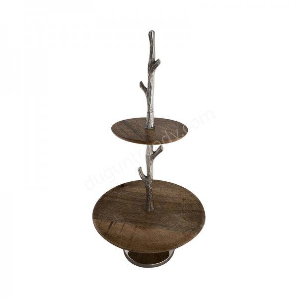 ahşap ve metal detaylı katlı dekoratif tabak modeli