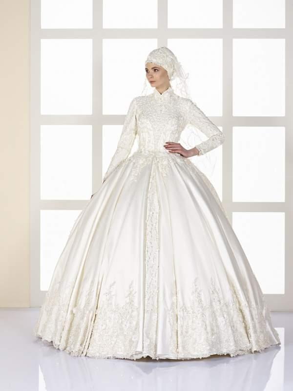 prenses kesim saten kumaş tesettür gelinlik modeli