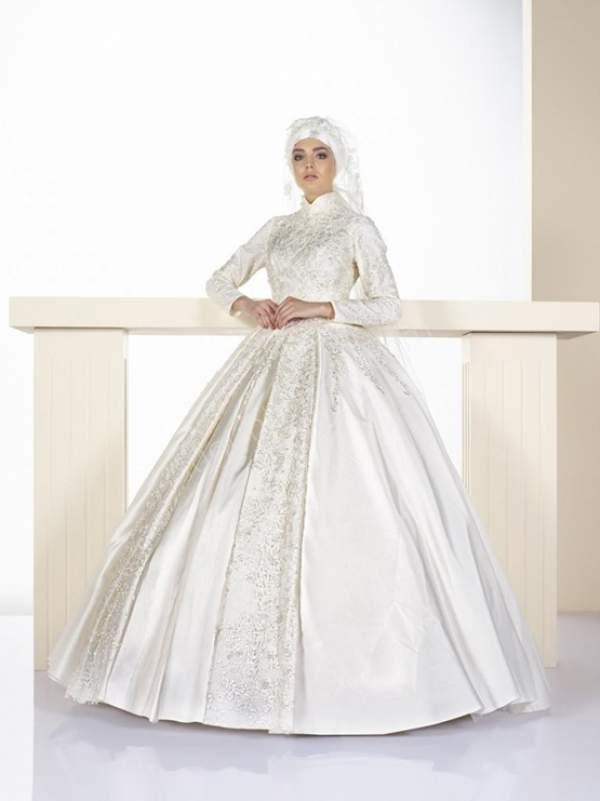 prenses kesim tesettür gelinlik modeli