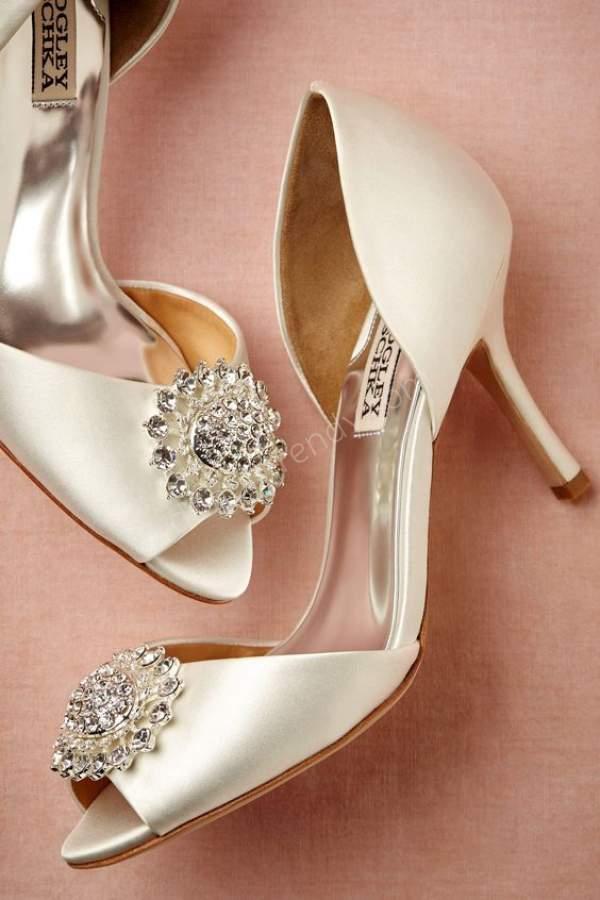 Tokalı Saten Pastel Renkli Abiye Ayakkabısı