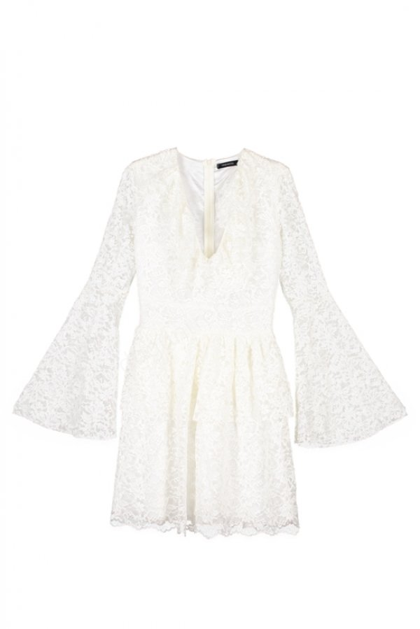 dantel ispanyol kollu kısa elbise modeli