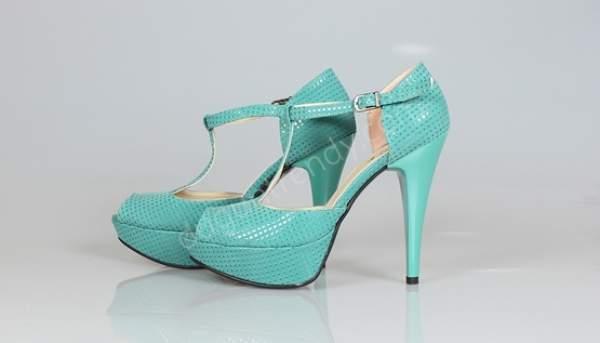 Turkuaz yüksek topuklu gelin ayakkabısı