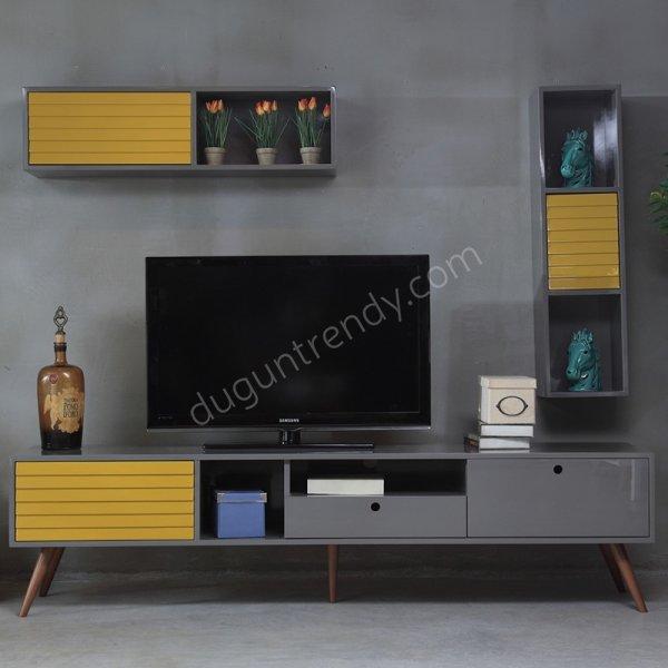 hardal rengi detaylı tv ünitesi modeli