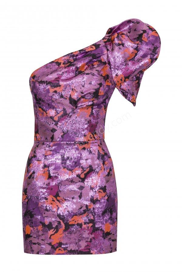 renkli parlak kumaş mini elbise modeli