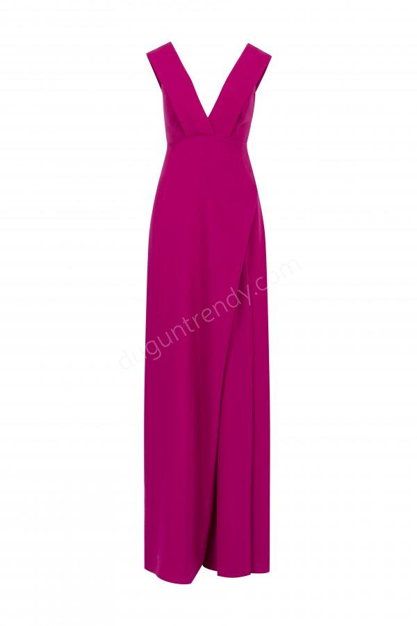 fuşya pembe V yaka elbise modeli