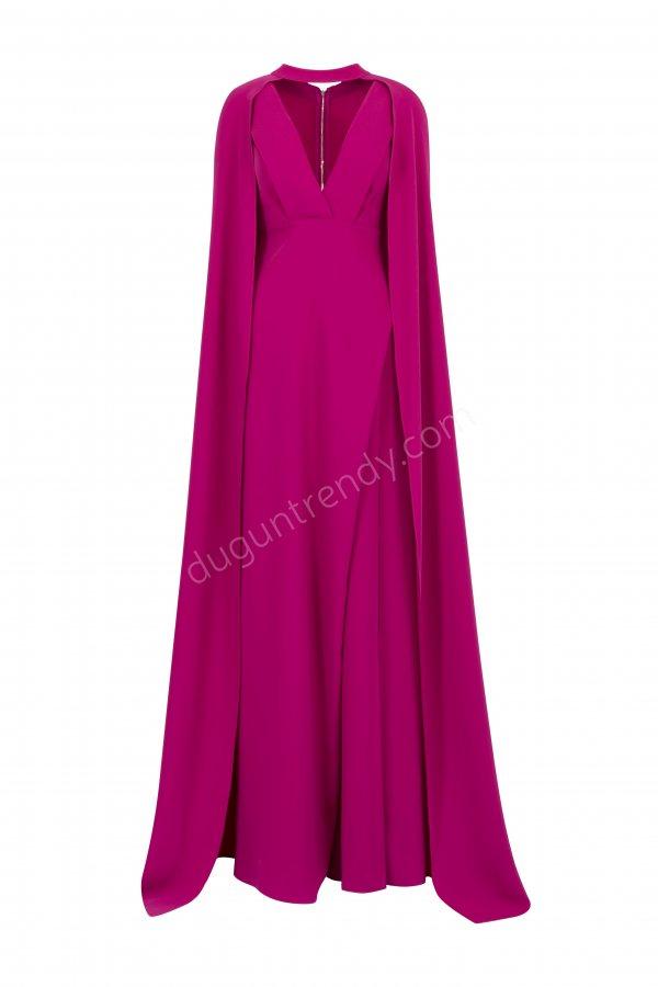 fuşya pelerin detaylı elbise modeli