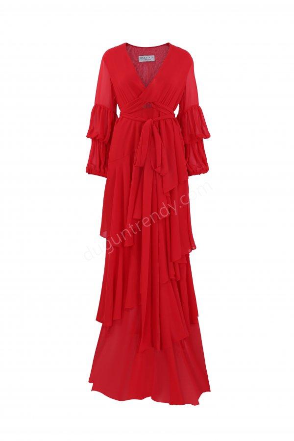 fırfır detayı V yaka elbise modeli